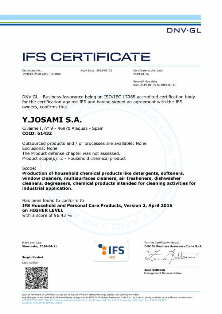 IFS certificado Josami