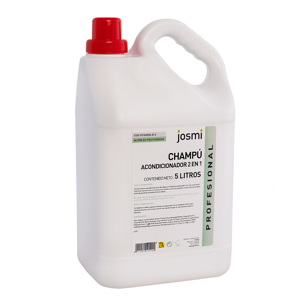 Shampooing et après-shampooing 2 en 1 Josmi format industriel 5 L.