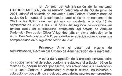 Nueva Junta General Extraordinaria 14 septiembre